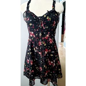 Abercrombie & Fitch Black Floral Sheer Sun Dress
